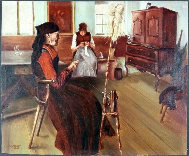 Ancien Tableau Filature Et Couture Peinture Huile Antique Oil Painting