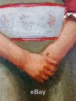 Ancien Tableau Fille au Collier de Perles Peinture Huile Antique Oil Painting