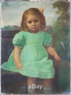 Ancien Tableau Fillette Assise sur Banc Peinture Huile Antique Oil Painting