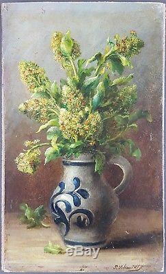 Ancien Tableau Fleurs dans une Cruche Peinture Huile Antique Oil Painting