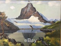 Ancien Tableau HST Art Déco Signé Maurice 1936 Cervin Alpes Lac Bleu Peinture