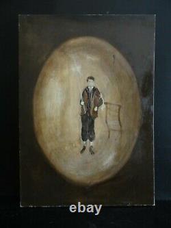 Ancien Tableau Huile Peinture Scne De Genre Surrealiste A Attribuer