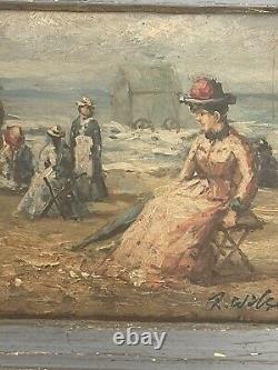 Ancien Tableau Huile Sur Panneau Signé R. Wilson, Peinture