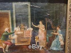 Ancien Tableau, Huile Sur Toile, Peinture, Portrait, Xixeme, Femme, Scene Interieur