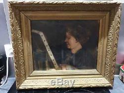 Ancien Tableau, Huile Sur Toile, Portrait De Femme, Peintre, Peinture, Signe