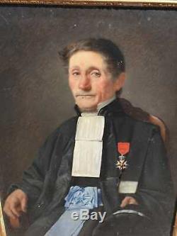 Ancien Tableau, Huile Sur Toile, Portrait De Juge, Xixeme, Peinture, Cadre Dore