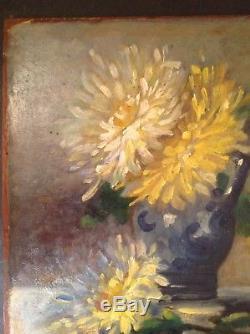 Ancien Tableau Impressionnisme Dahlias au Pichet double face Marine Huile