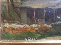 Ancien Tableau Impressionniste Paysage Huile signée