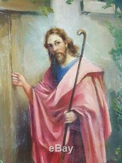 Ancien Tableau Jésus le Bon Pasteur Peinture Huile Antique Oil Painting Old