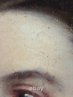 Ancien Tableau Jeune Femme Peinture Huile Antique Oil Painting Altes Ölgemälde