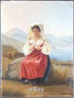 Ancien Tableau Jeune Femme à la Fleur Peinture Huile Toile Antique Painting