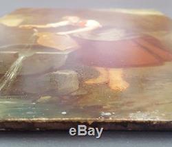 Ancien Tableau Jeune Femme à la Fontaine Peinture Huile Antique Oil Painting