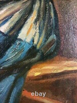 Ancien Tableau Jeune Fille à la Couture Peinture Huile Antique Oil Painting