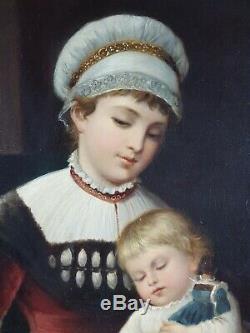 Ancien Tableau Jeune Mère Peinture Huile Toile Antique Oil Painting Dipinto