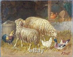 Ancien Tableau Johanna Grell (1850-1934) Peinture Huile Antique Oil Painting