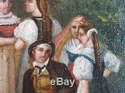 Ancien Tableau Jour de Fête à la Montagne Peinture Huile Toile Oil Painting