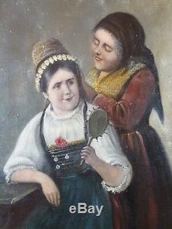 Ancien Tableau Journée en Costume Peinture Huile Antique Oil Painting Dipinto