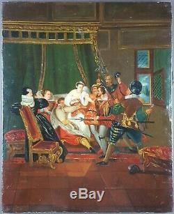 Ancien Tableau L'arrestation Peinture Huile Antique Painting Dipinto Ölgemälde