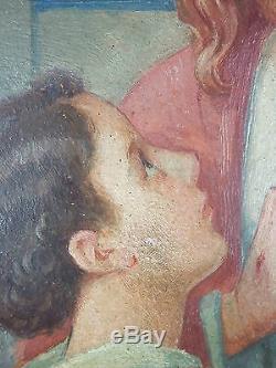 Ancien Tableau La Communion Peinture Huile Antique Oil Painting Ölgemälde