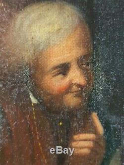 Ancien Tableau La Conversation Peinture Huile Toile Antique Oil Painting Old