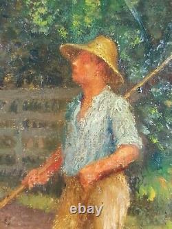 Ancien Tableau La Ferme Peinture Huile Antique Oil Painting Dipinto Olio