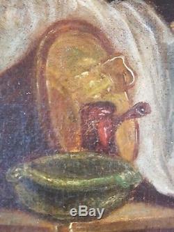 Ancien Tableau La Lessive Peinture Huile Toile Antique Oil Painting