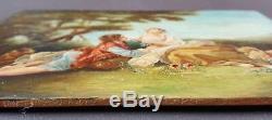 Ancien Tableau La Musette Peinture Huile Panneau Antique Oil Painting