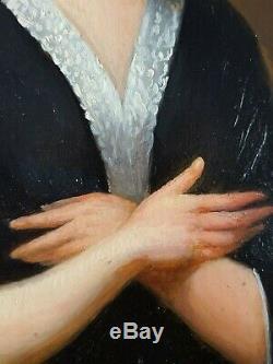 Ancien Tableau La Prière Peinture Huile Antique Oil Painting Ölgemälde Dipinto