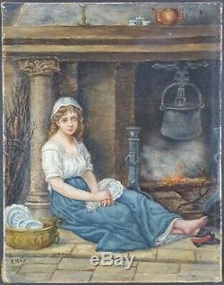Ancien Tableau La Servante Peinture Huile Antique Oil Painting Dipinto Malerei