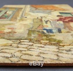 Ancien Tableau La Vielle Maison Peinture Huile Antique Oil Painting Ölgemälde