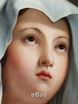 Ancien Tableau La Vierge Marie Peinture Huile Antique Oil Painting Dipinto