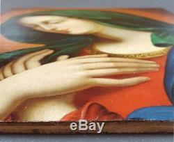 Ancien Tableau La Vierge Marie Peinture Huile Toile Antique Oil Painting