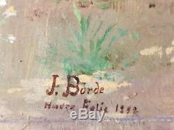 Ancien Tableau Le Puits Peinture Huile Panneau Antique Oil Painting Old Panel