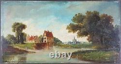 Ancien Tableau Le Ruisseau du Moulin Peinture Huile Antique Antique Painting