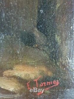 Ancien Tableau Les Amoureux Peinture Huile Toile Antique Oil Painting Dipinto