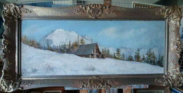 Ancien Tableau Montagne Enneigée Alpes Savoie