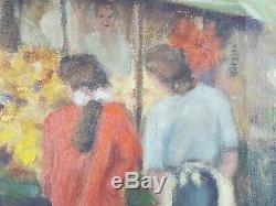 Ancien Tableau Marché aux Fleurs Peinture Huile Antique Oil Painting Dipinto