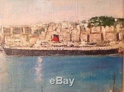 Ancien Tableau Marine Paquebot Ville d'Alger Port d'Alger Huile signée