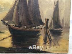 Ancien Tableau Marine Signe Chatelin Huile Sur Toile Peinture