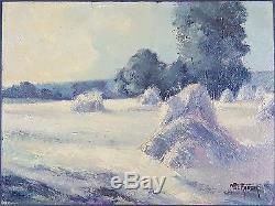 Ancien Tableau Meules de Foin Peinture Huile Antique Oil Painting