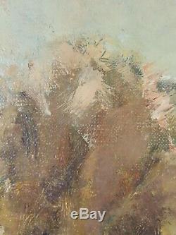 Ancien Tableau Moisson Peinture Huile Toile Antique Oil Painting Dipinto