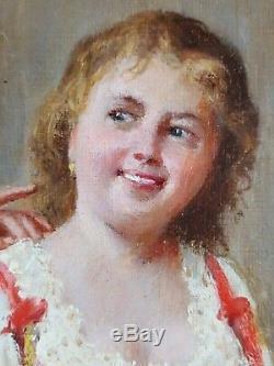 Ancien Tableau Mousquetaire et Servante Peinture Huile Toile Antique Painting