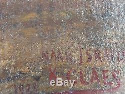 Ancien Tableau Moutons au Pâturage Peinture Huile Antique Oil Painting