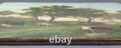 Ancien Tableau Moutons et Vaches au Pâturage Peinture Huile Antique Painting