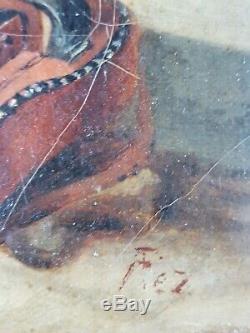 Ancien Tableau Musicienne de Rue Peinture Huile Antique Oil Painting Dipinto