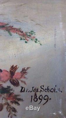 Ancien Tableau Nature Morte Peinture Huile Antique Oil Painting Vintage