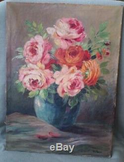 Ancien Tableau Nature Morte Roses Au Vase Fleurs Toile Peinture Huile