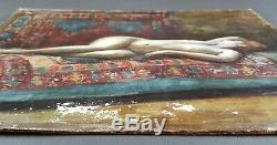 Ancien Tableau Nu Couché Peinture Huile Antique Oil Painting Dipinto Ölgemälde