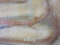 Ancien Tableau Nu Couché Peinture Huile Antique Painting