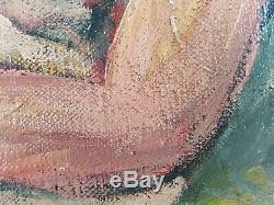 Ancien Tableau Nu Féminin Peinture Huile Toile Antique Oil Painting Dipinto